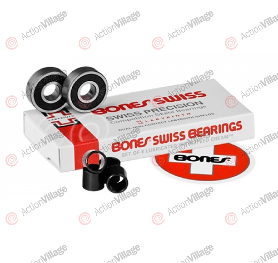 Bones Swiss Labyrinth '2' Bearings 8-Pack - Skateboard Bearings