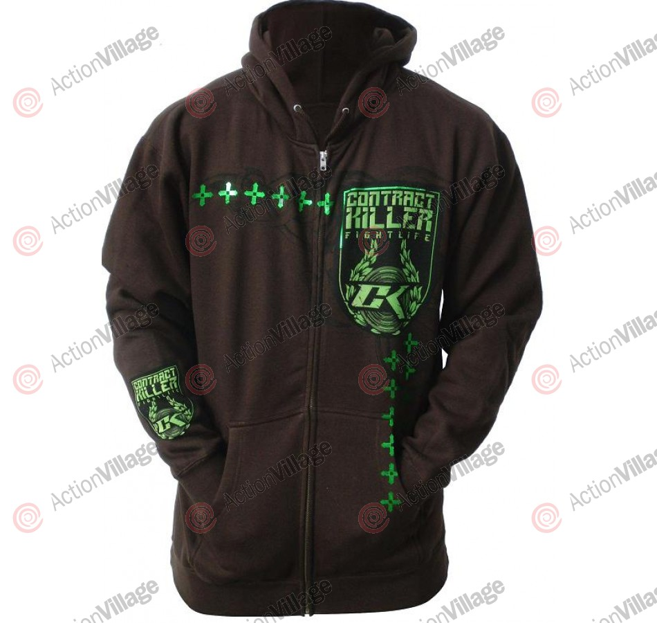 Contract Killer Bellator Zip Up Hoodie - Cocoa/Foil Green