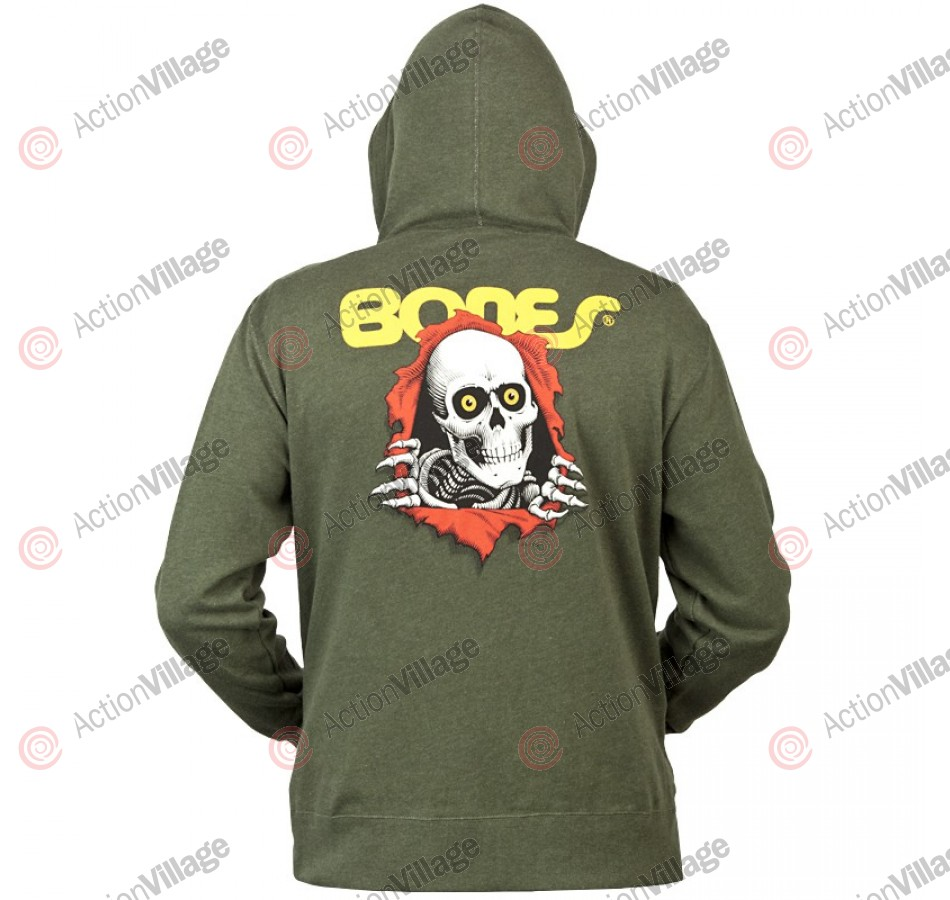 Powell-Peralta Winged Ripper Hooded Zip - Olive - Mens Sweatshirt