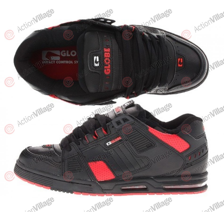 Globe Sabre - Black/Fiery Red - Mens Skateboard Shoes