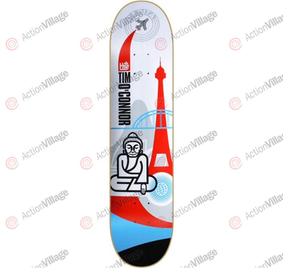 Habitat TO Tim O'connor Globe Trot - White/Red/Blue - 8 - Skateboard Deck