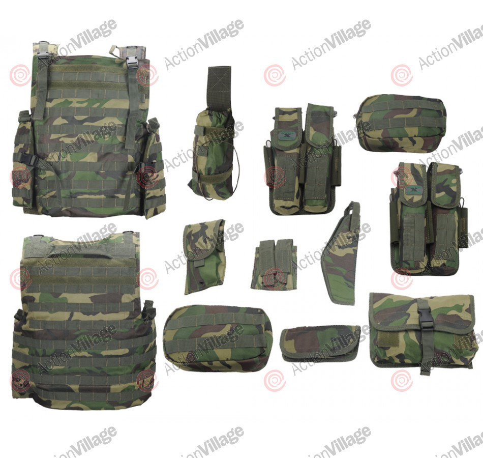 Gen X Global Flak Jacket Molle Paintball Vest - Woodland Camo