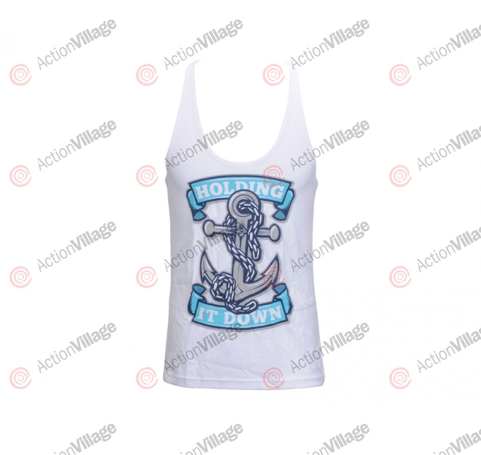 HK Army Anchor Girls Racerback Tank Top - White