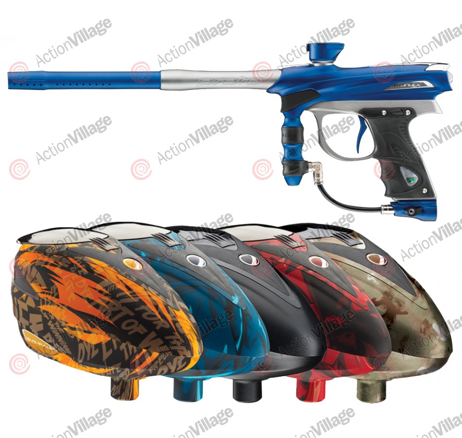 2012 Proto Reflex Rail Paintball Gun w/ Rotor Loader - Blue/Grey Dust