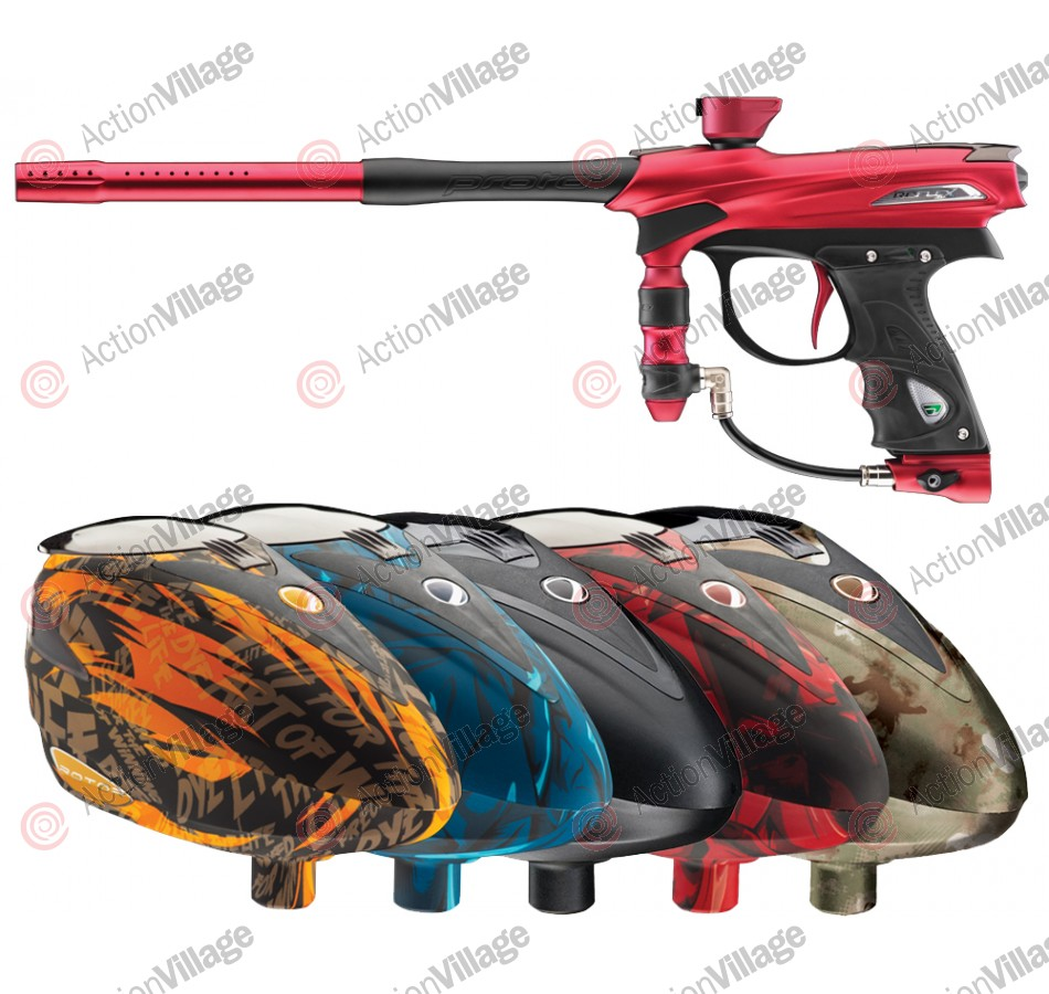 2012 Proto Reflex Rail Paintball Gun w/ Rotor Loader - Red/Black Dust