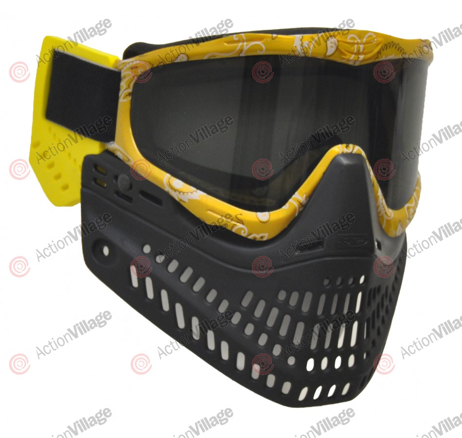 JT ProFlex Thermal Paintball Mask w/ Smoke Lens - EPS Yellow Bandana/Black