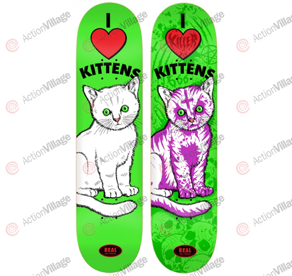 Real Sunburn Kitty 2nd Degree - Green - 8.06 - Skateboard Deck