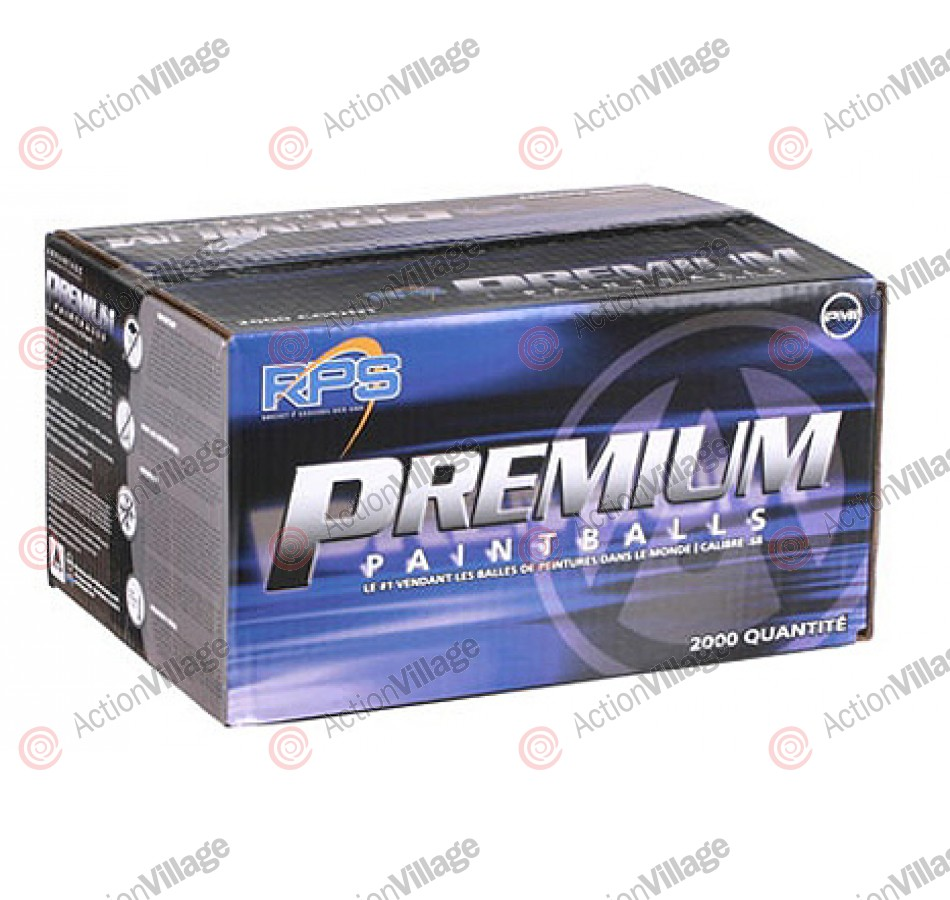 PMI Premium Paintballs Case 2000 Rounds - Yellow/Blue - Yellow fill