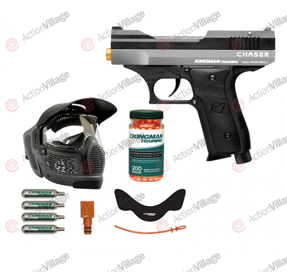 Kingman Training Chaser 43 Caliber Paintball Pistol Players Pack - Silver