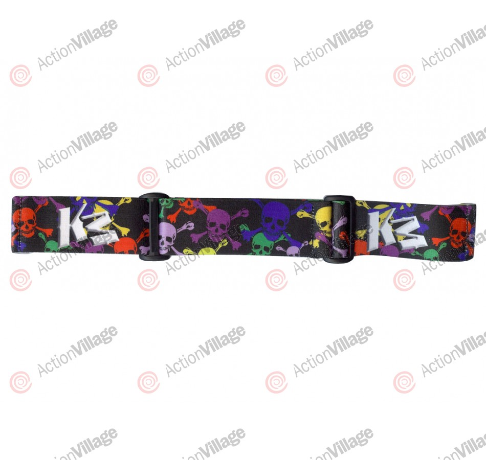 KM Paintball Goggle Strap - 09 White Skull Rave