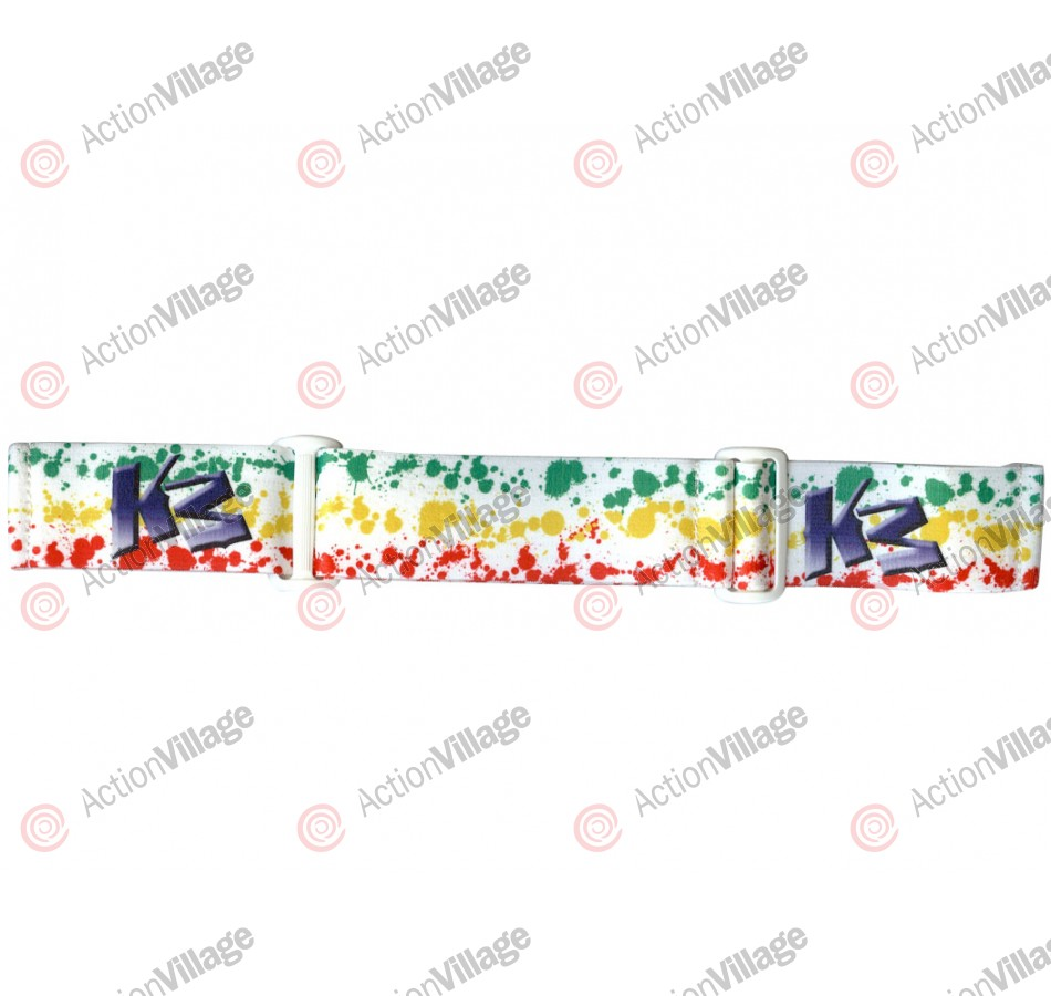 KM Paintball Goggle Strap - 09 Rasta Splatter White
