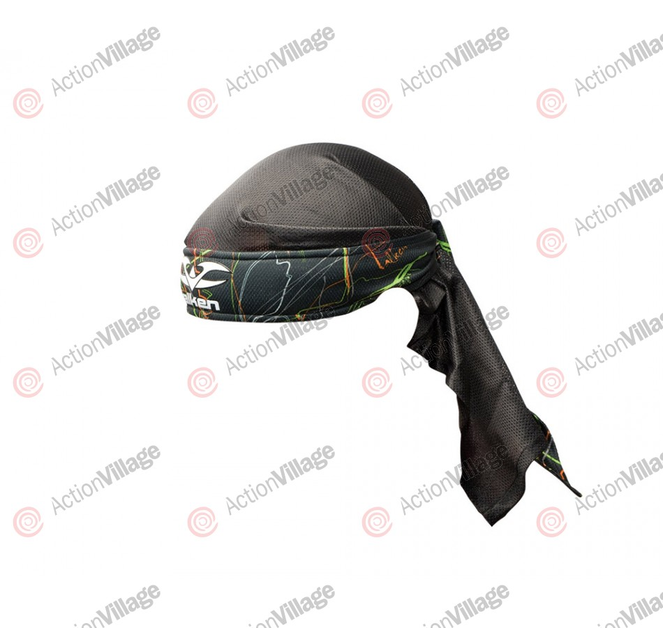 2012 Valken Crusade Paintball Headwrap - Static Green/Orange
