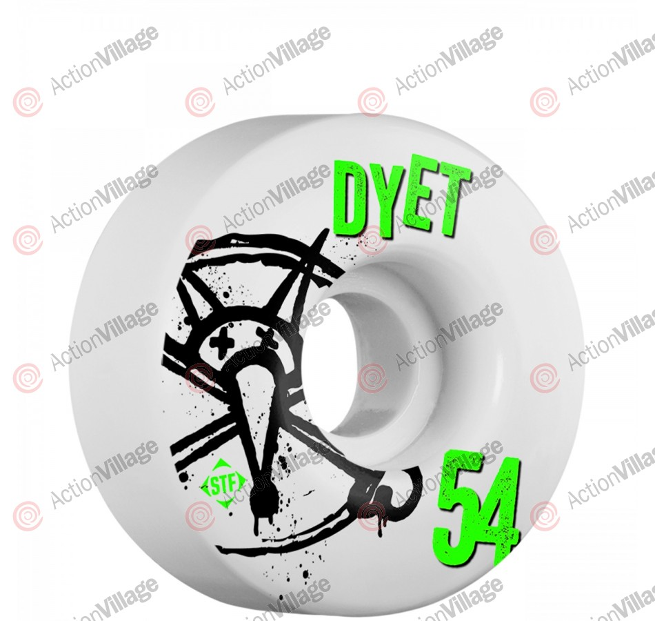 Bones STF Pro Dyet Numbers - 54mm - White - Skateboard Wheels