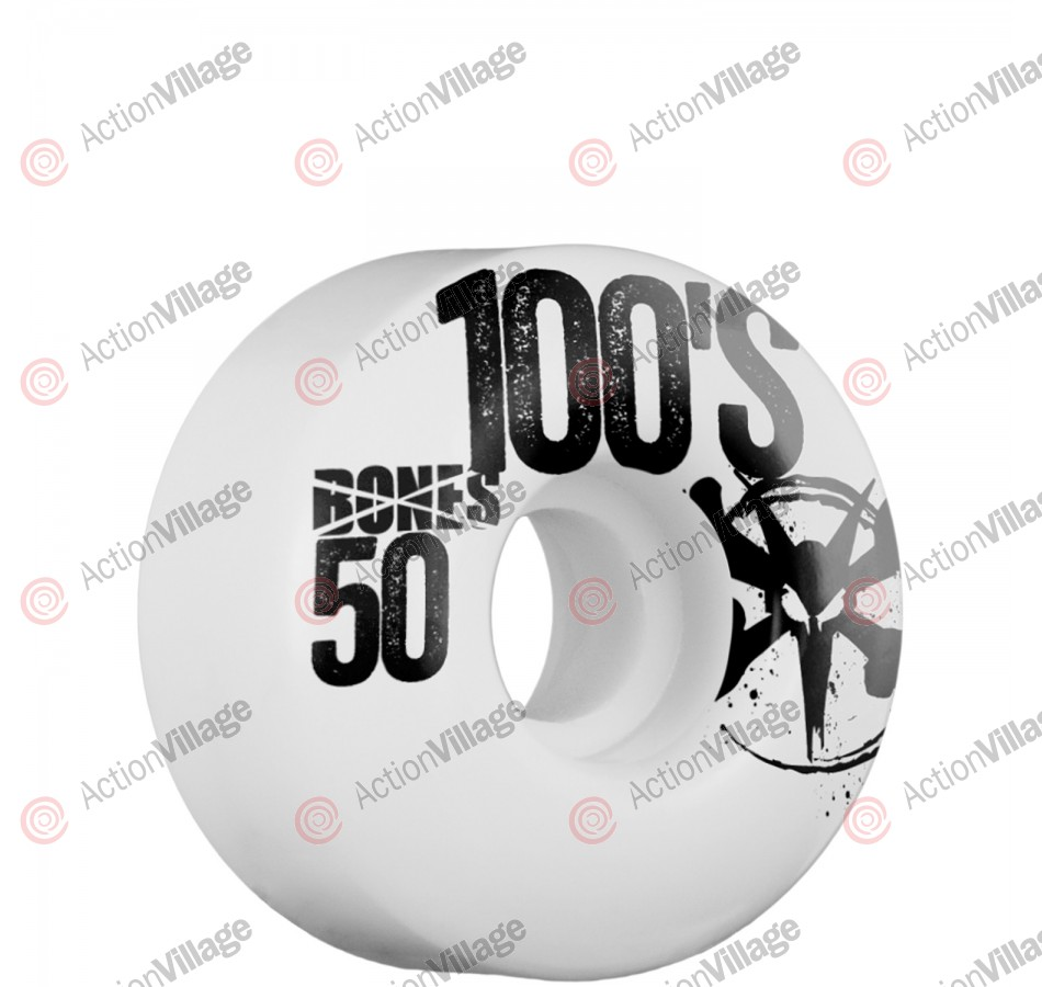 Bones 100's - 50mm - White - Skateboard Wheels