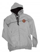 Santa Cruz Classic Dot Hooded Zip L/S Thermal Lined - Grey Heather - Mens Sweatshirt