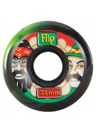 Flip 55mm Cheech and Chong Rasta Green Black Swirl 86a - Skateboard Wheels