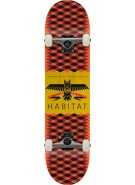Habitat Mantle Small - Red - 7.625 - Complete Skateboard