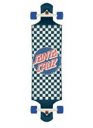 Santa Cruz Check Drop Down Cruzer - Blue/White - 40 Inch - Complete Skateboard