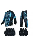 2013 Dye C13 Paintball Jersey & Pant Combo w/ Assault Harness - Cubix Cyan