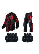2013 Dye C13 Paintball Jersey & Pant Combo w/ Assault Harness - Cubix Red