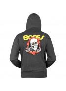Powell-Peralta Winged Ripper Hooded Zip - Charcoal - Mens Sweatshirt