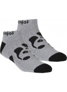 Enjoi Panda Feet Ankle Sock - Heather Grey - Mens Socks