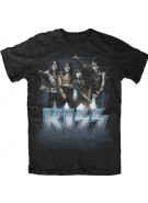 Kiss Band Blue Logo Pose - Black - Band T-Shirt
