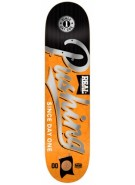 Real Pushing All City Medium- 8.25x32 - Black/Orange - Skateboard Deck