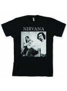 Nirvana Band B&W Sitting Photo  - Black - Band T-Shirt