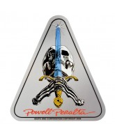 Powell Peralta Skull & Sword Sticker - Silver - 4in - Sticker