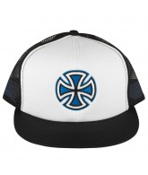Independent Painted Cross Trucker Mesh Hat - One Size Fits All - White/Blue/Black
