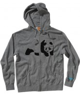 Enjoi Fuzzy Panda Zip Hood - Heather Grey - Mens Sweatshirt - X Large