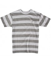 Fallen Striped Custom Knit Crew - Men's T-Shirt - Heather Grey / Grey