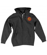 Santa Cruz Classic Dot Hooded Zip L/S - Charcoal Heather - Mens Sweatshirt