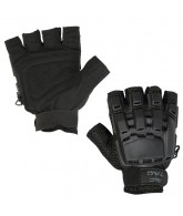 Valken V-Tac Half Finger Plastic Back Paintball Gloves - Black